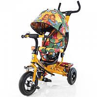 Детский трехколесный НАДУВНЫЕ КОЛЕСА велосипед TILLY Trike Бабочка T-351-7 Air Золотой
