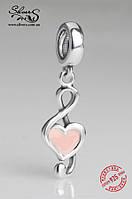 """Серебряная подвеска-шарм Пандора (Pandora) """"Скрипичный ключ"""" для браслета"""