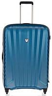 Качественный большой чемодан на 4-х колесах из пластика Roncato Uno Zip,5081/01/68, голубой, 100 л.