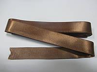 Стрічка атласна двостороння 2 см ( 10 метрів), бежевий темний