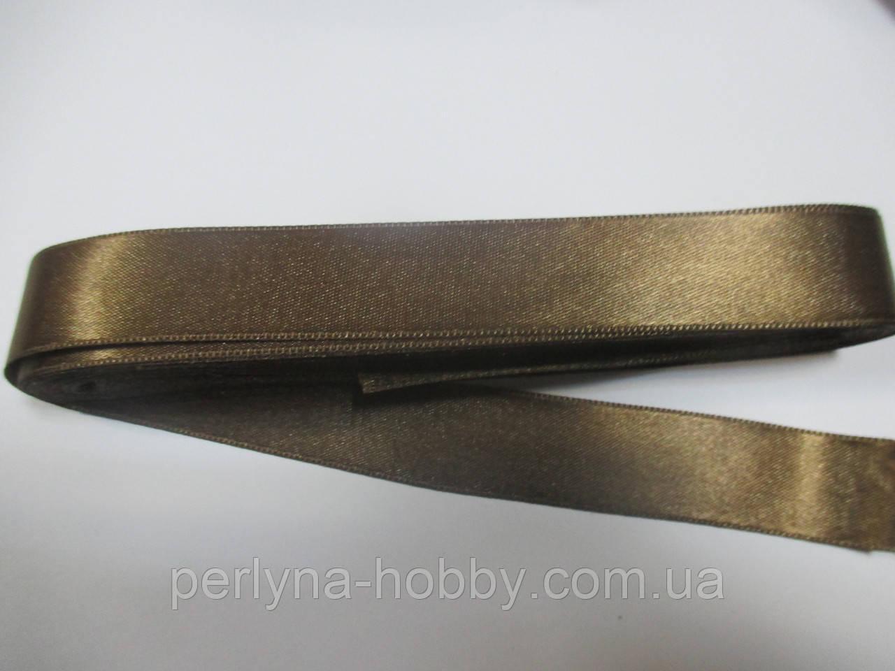 Стрічка атласна  двостороння 2 см ( 10 метрів),   світло-коричневий з  золотистим відтінком