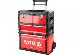 YATO Валіза-візок для інструментів  3-секції. на 2-х колесах з висувною ручкою