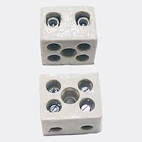 Термостойкая клеммная колодка 2х2,5 керамическая белая