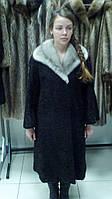 Каракулевое пальто с норковым воротником.