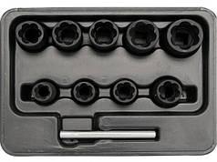 """Головка  для видалення зломаних гвинтів YATO YT-0603 , Набір 10шт.з квадр. 3/8"""", h=10 мм"""