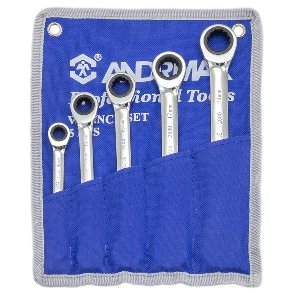 Комплект ключів накидних з храповим механізмом, 5 од. ANDRMAX