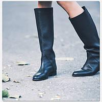 Высокие кожаные женские сапоги-ботинки