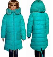 Теплая  удлиненная куртка парка для девочек