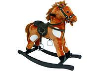 Игрушечный конь - качалка с музыкой, цв.коричнево/белый (JR603)