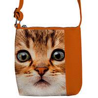 Рыжая стильная сумка для девочки с рисунком кошки