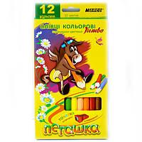 Цветные карандаши Marco 12 цветов Пегашка Jumbo