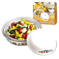 Набор тарелок эмалированных 4шт Цветы Stenson MH-0201