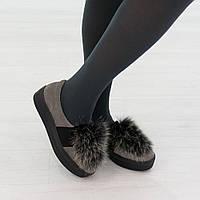 Туфли из натуральной замши с мехом серого цвета