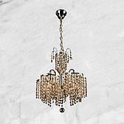 Золотая хрустальная люстра на три лампы