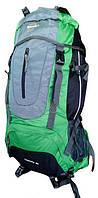 Рюкзак для туризма Leacom 60 л., туристический рюкзак Лиаком, серый с зелёным ( код: IBR003SG )