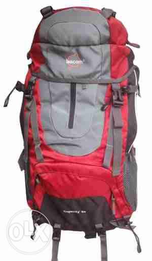 Рюкзак для туризма Leacom 60 л., туристический рюкзак Лиаком, серый с красным ( код: IBR003SR )