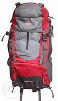 Рюкзак для туризма Leacom 60 л., туристический рюкзак Лиаком, серый с красным ( код: IBR003SR ), фото 1