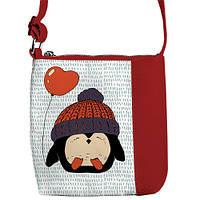 Красная сумка для девочки с принтом пингвин