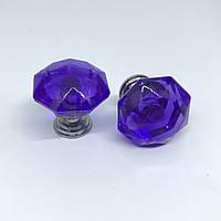 Ручка для декупажа стекло. Цвет фиолет. 24х24мм