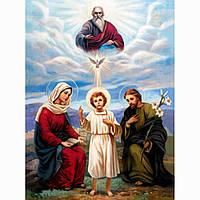 """Картина для малювання камінням Diamond painting Алмазна вишивка """"Святе сімейство і Господь"""", фото 1"""