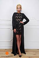 Элегантное женское кружевное платье с длинной шелковой накидкой (160 см). Цвет черный