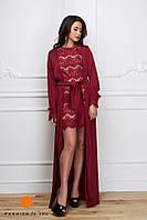 Элегантное женское кружевное платье с длинной шелковой накидкой (160 см). Цвет марсала