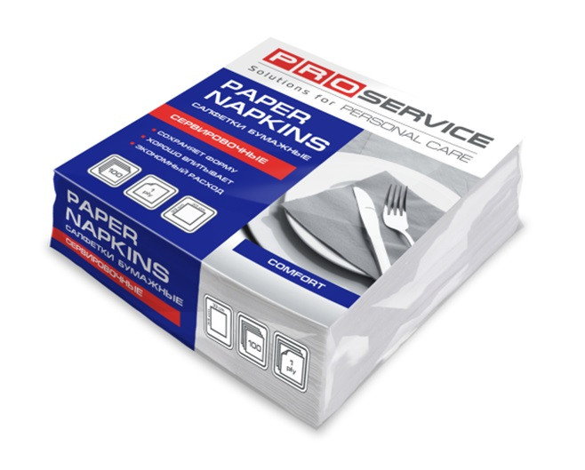 PROservice салфетка 33х33 1сл. белые сложение 1/8 100 шт.