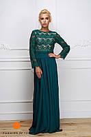 Элегантное женское платье-костюм: кружевной топ и длинная шелковая юбка (длина 115 см). Цвет изумрудный