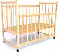 Детская кроватка Виктория-4 Дуга-колеса / Ольха / опускные бок. / Babybrok