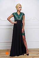 Женское платье-двойка: кружевное платье и длинная шелковая юбка (длина 115 см). Цвет изумруд и черный