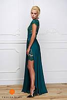 Женское платье-двойка: кружевное платье и длинная шелковая юбка (длина 115 см). Цвет изумруд