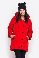 Куртка зимняя красного цвета большого размера. Парка стильная.