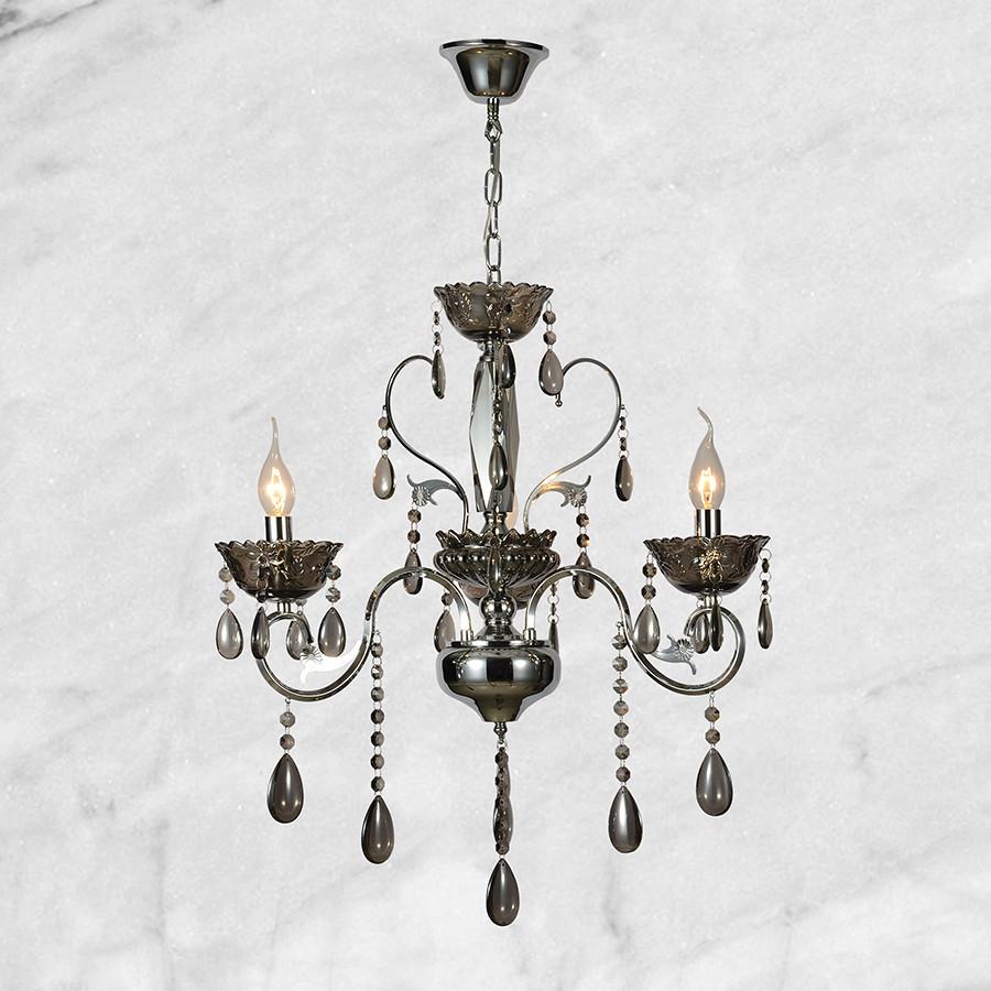 Серебряная хрустальная люстра на три лампы