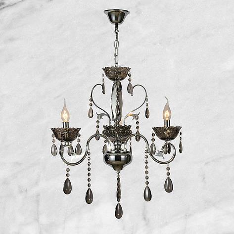 Серебряная хрустальная люстра на три лампы, фото 2