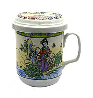 "Чашка заварник с ситечком ""Девушка на рыбалке"" (230 мл)"