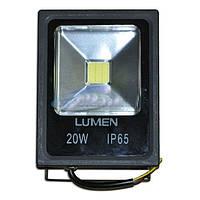 Прожектор светодиодный Lumen LED 20W slim, IP65, черный