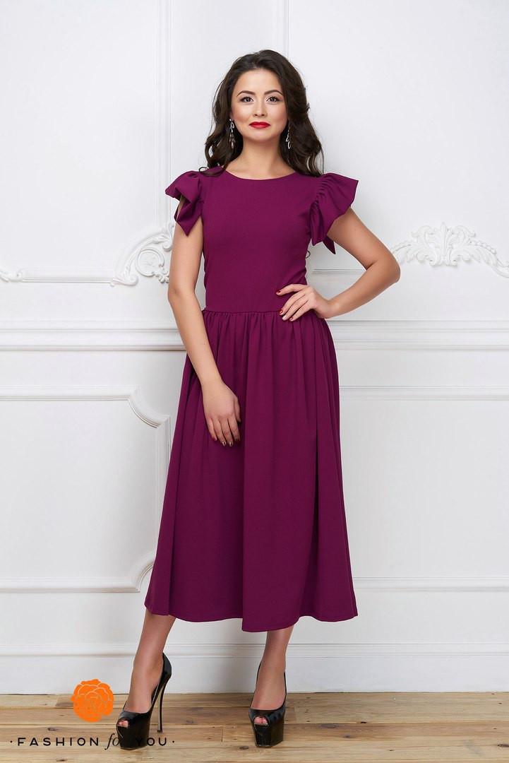 8ecec8af9b9 Элегантное женское платье материал дайвинг с красивым рукавом-воланчиком