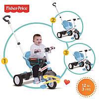 Велосипед  3-х колесный с ручкой и корзиной  Smart Trike Charm Plus 3 в 1 Fisher Price голубой
