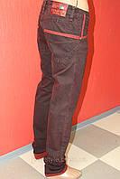 Купить джинсы оптом зауженные STRAVT (стравт) жатые с отворотом  бордовые, красные 317