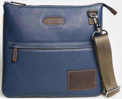 Кожаная мужская сумка через плечо ISSA HARA B9 13-32 синяя