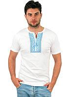 Белая футболка мужская вышиванка летняя трикотажная хб (Украина)