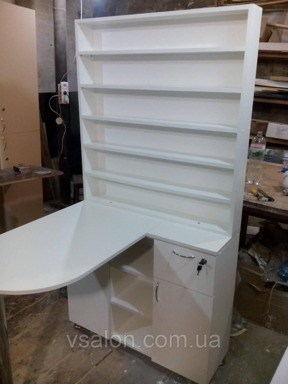 Стол для маникюра с огромной тумбой и стеллажом А41