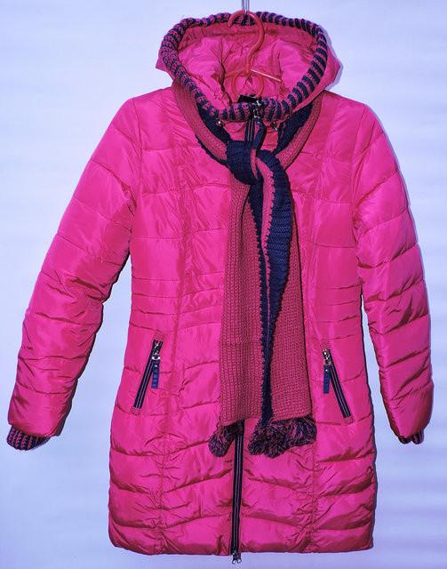 Зимове пальто для дівчат 6-14 років Black Red рожеве з шарфом - Камала в  Хмельницком 111680cc93c41