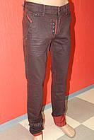 Джинсы мужские STRAVT (Стравт) зауженные, бордовые с отворотом и вставками, пуговицы на шеринке 1026