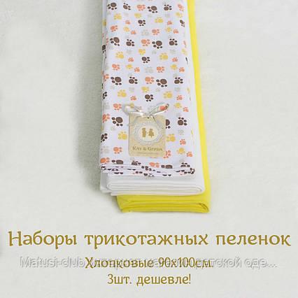 Пеленки для новорожденных в роддом. Разновидовые.3107K&G. наборы по 3 шт. Мальчику, девочке, унисекс 90x100см., фото 2
