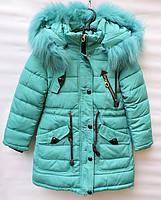 Зимова куртка - парка для дівчат 7-11 років LK бірюза