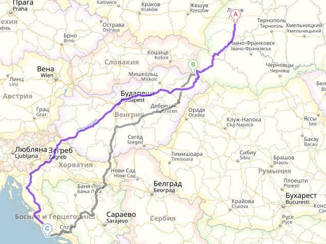 Львов, Украина - Чоп-Захонь - Рогозница, Хорватия
