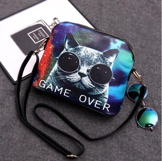 Женская сумка с модным котом в очках