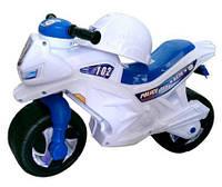Мотоцикл детский беговел Белый (каска и значок)