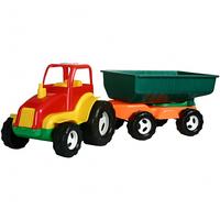 Детский игрушечный трактор с прицепом